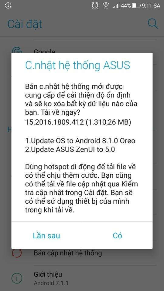 ZENFONE 4 MAX PRO - CẬP NHẬT ANDROID 8.1